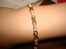 PRE-OWNED  BEAUTIFUL YELLOW GOLD COLORED  BRACELET WITH CZ'S