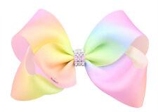 Light Pink Rainbow Hair Bows Girls Diamante Hair Clip Accessories 12cm QAZ12