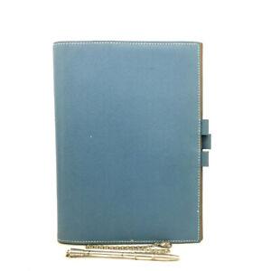 HERMES Agenda Blue Epsom Leather Notebook Cover w/Pen/E1238
