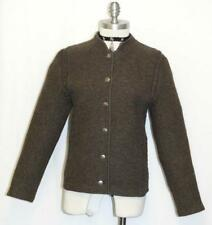 BOILED WOOL BROWN JACKET Women German Austria Winter WARM Cardigan Walk 6 S B36""
