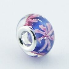 Murano Glass Bead Nature 14mm High Sterling Silver Core for Charm Bracelet