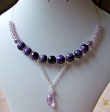 "15.5"" Lavender Amethyst and Purple Fire Agate Gold Plated Memory Wire Necklace"