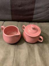 Vintage Apricot Fiesta Ware Sugar Bowl & Creamer