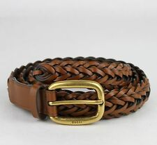 54586ad6b12  495 New Gucci Light Brown Braided Leather Belt w gold Buckle 95 38 380606