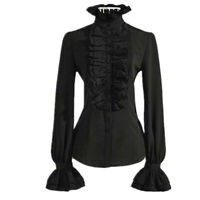 Retro Women Gothic Shirt Blouse Tops Lace Ruffle Steampunk Victorian Puff Sleeve