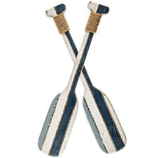 NEW Blue & White Double Paddle Oar Wooden Wall Decor Nautical Beach Home Decor