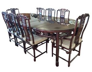 Lovely Asian Rosewood Dining Table with 8 Chairs, 8FT, PA5923DL