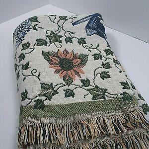 Goodwin Weavers Knit Woven Throw Blanket Cream Beige Fruit Bird House Gardening