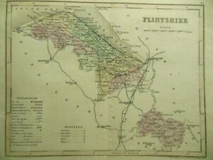 Original Antique Map of FLINTSHIRE (North Wales) c1850s - J Archer Welsh County