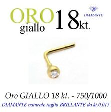 Piercing naso nose ORO GIALLO 18kt. con DIAMANTE kt.0,015 yellow GOLD DIAMOND