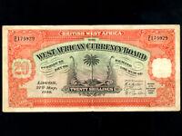 British West Africa:P-8b,20 Shillings,1948 * Palm Tree *