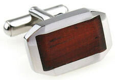 Wood and Stainless Steel Classic Beveled Wedding Cufflinks by COWAN BROWN