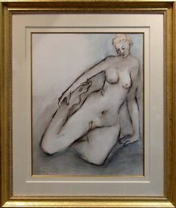 R C Gorman Hand Signed Original woman Pastel Drawing with frame, Make An Offer!