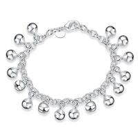 *UK* 925 Silver Plt Bead Bell Charm Bracelet / Bangle / Anklet Chain Ball Ladies