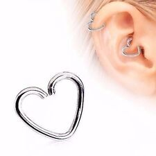 18G STEEL HEART EAR CARTILAGE EARRING TRAGUS HELIX CLIP ON HOOP DAITH CONCH RING