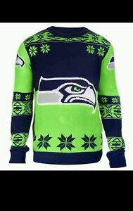 Seattle Seahawks Big Team Logo Crew Neck Ugly Sweater Xmas NFL Licensed SIZE S