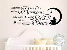 When it Rains Look For Rainbows Wall Sticker Quote Nursery Wall Decor Decal