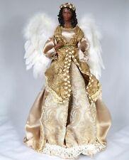 "18"" Gold Christmas Black Angel Tree Topper African American Elegant R"