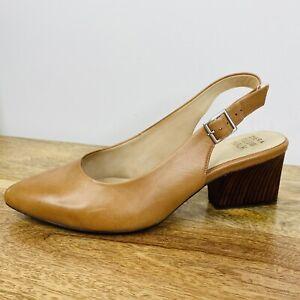 Ziera Comfort Pillow Walk Low Block Heels Tan Leather Sling Back Size 43W 12.5