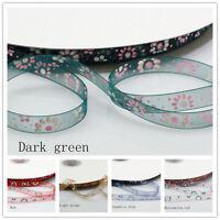 "3/8"" 10mm Quality Sun Flower Sheer Woven Edge Organza Chiffon Ribbon 155#"