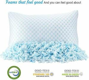 ❄Heat & Moisture Reducing Ice Silk/Gel Infused Memory Foam Pillow Queen 1 Pack