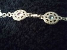 Brighton Silver Tone Bracelet with Pink  and blue stones 9 inch