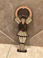 Vintage Greek Man Dancer Bottle Opener Brass Enamel Paint Vintage Souvenir