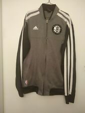 Adidas Brooklyn Nets Three Stripe Sweatshirt Jacket Grey/Black - Men's Large