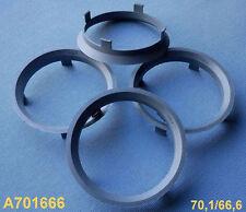 (A701666) 4 Stück  Zentrierringe 70,1 / 66,6 mm silber für Alufelgen