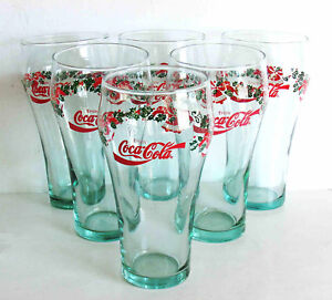 "6 Coca Cola Christmas Holiday Green Glasses 6"" tall Holly Bells LIBBEY FREE SH"