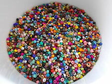50g 2mm 11/0 Glass Seed Beads - ASSORTED COLORS MIXED AB OPAQUE TRANSPARENT