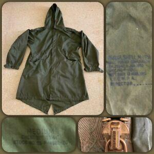 VTG 50s US Army M51 Fishtail Parka SHELL & HOOD Military Medium Jacket M-1951