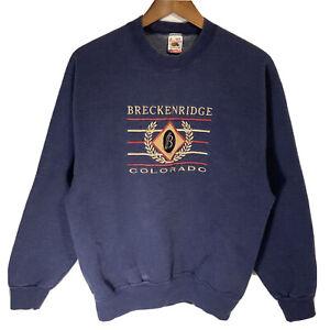 Vtg 90s Breckenridge Colorado Sweatshirt Ski Tourist Crewneck Sz Medium Blue