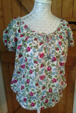 LADIES FLORAL SUMMER BOHO HIPPY STYLE HOLLISTER SHORT SLEEVED TOP SIZE M BNWOT