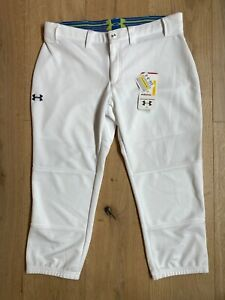 Under Armour HeatGear Womens UA Softball Pants Sz M White Cropped Fitted Stretch
