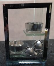 Double Butterfly Glass Mirror T-lite holder