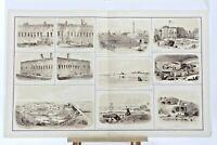 Antique Atlas Civil War Lithograph CXXII Fort Sumter Moultrie 1863 Beauregard CS