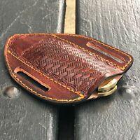 Leather Sheath for Pocket Knife Leather Case Open Top Slanted Pancake Sheath