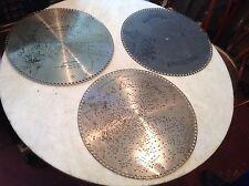 """Lot of 3 Antique Regina 15 1/2"""" Music Box Discs No. 1189, 1357, 1637"""