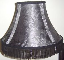 """STUNNING Bespoke 16"""" LAMPSHADE SILVER GREY PAISLEY HAND MADE UNIQUE fully lined"""