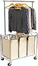 DecoBros Laundry Hampers HeavyDuty 3 Bag Laundry Sorter Cart with Hanging Bar