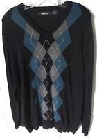 Claiborne Men's Medium Argyle Sweater V-Neck Cotton Black Blue Gray