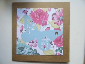"""Pale Blue Butterfly/Floral 6""""x6"""" - Blank, For Any Occasion, Handmade Card"""