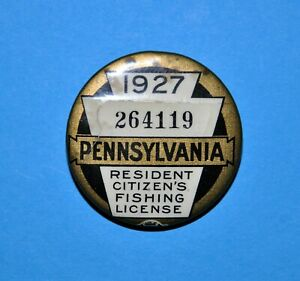 1927 Pa Fishing License Button Pennsylvania Fish Commission resident with paper