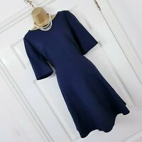 Boden Navy 98% Wool Blue Flippy Hemmed Work Shift Dress UK 14R Smart Career Work