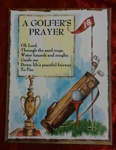 A GOLFER'S PRAYER Sign - Press Board Wood Wall Hang Plaque- Guide me...to Par
