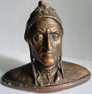 Bronzed Plaster Portrait Italian Poet Dantes Alighieri Sabatino Angelis c.1890