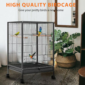 30'' Wrought Iron Bird Cage w/ Rolling Stand Parrots Conure Lovebird Cockatiel