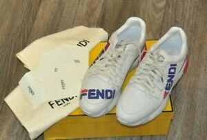 AUTHENTIC NEW FENDI X FILA WHITE CALFSKIN PLATFORM SNEAKERS,SIZE UK8/US9
