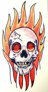 Flaming Skull  TEMPORARY TATTOO ARM or LEG 145mm X 70mm  AB0049